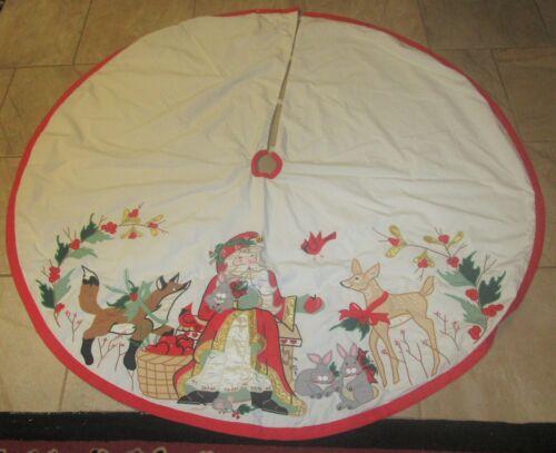 House of Hatten D Calla Santa Claus & Forest Animals Deer,Fox Rabbit Tree Skirt