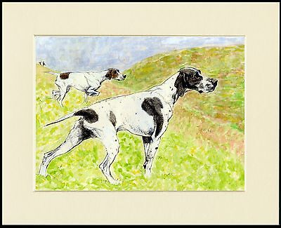 POINTER DOGS AT WORK GREAT DOG PRINT MOUNTED READY TO FRAME