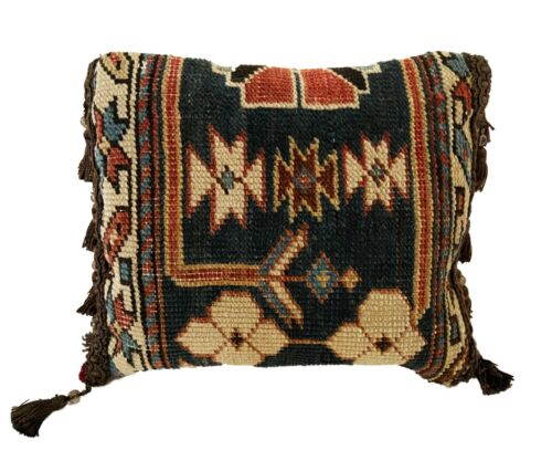 """Neck Pillow W/19th Caucasian Rug Fragment.11"""" by 7.5"""""""