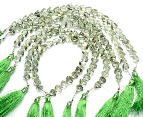 "Natural Gem Brazil Prasiolite Green Amethyst 8mm Smooth Trillion Shape Beads 9"""