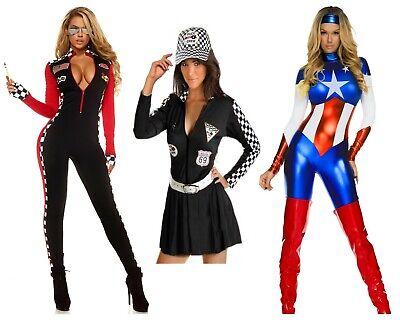 Ladies sexy Superhero, Race Crew, race car/ drag race chequered jumpsuits