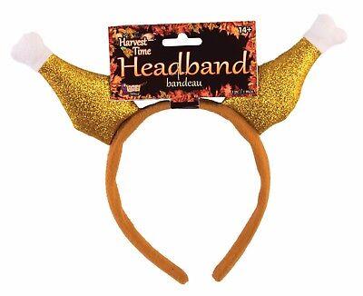 Turkey Headband (GLITTER TURKEY DRUMSTICK HEADBAND Hat Thanksgiving BBQ Adult Chef Chicken)