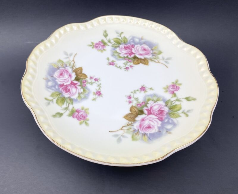 LEFTON CHINA CANDY DISH ON PEDESTAL HAND PAINTED Pink Roses