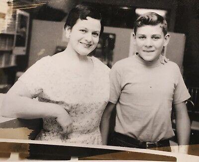 Young Cute Boy (1950's Pretty Young Mother Cute Son School Boy Photo Photograph)