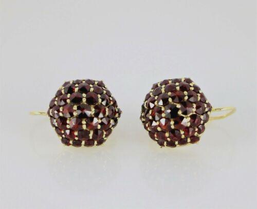 $1995 Vintage Estate 14K Yellow Gold Red Round Bohemian Garnet Dangling Earrings
