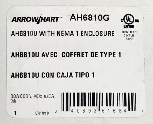 EATON AORROW HART AH6810G 30 AMP 600VAC 2 HP AH681 Manual Motor Controller 6810G
