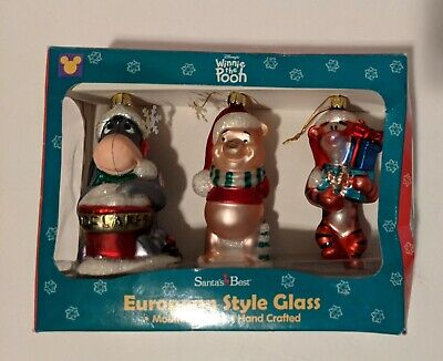 Disney's Winnie the Pooh European Style Glass Christmas Ornaments Santa's Best