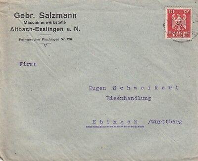 ALTBACH-ESSLINGEN, Briefumschlag 1924, Gebrüder Salzmann Maschinenwerkstätte