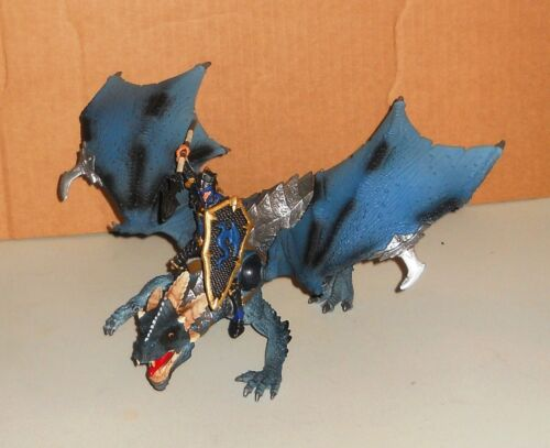 Schleich Blue Dragon With Rider World of Knights D-73527 Complete and Excellent!
