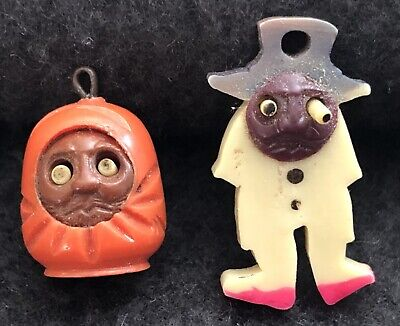 2 Vintage Celluloid Japanese Kobe Charms Pop Out Eyes Red Daruma Doll Man in Hat