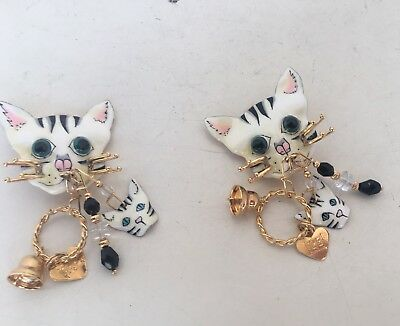 "Lunch At The Ritz Enamel Cat Theme Dangle Earrings 3"" Heart Charm Bell Clip On"