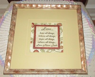 Love Bears All Things Framed Matted Print Scripture Bible 12 x 12 Burgundy Gold Burgundy Gold Art Print