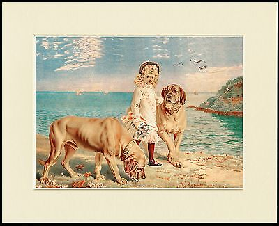MASTIFF DOGS AND GIRL DAISY AND HER GUARDIANS DOG PRINT MOUNTED READY TO FRAME