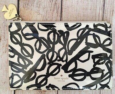 Kate Spade Literary Glasses Print Clutch Makeup Cosmetic Pencil Bag Black Ivory