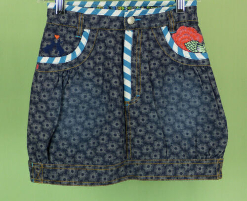 604 OILILY boutique girl denim floral skirt EUC Size 9-10Y