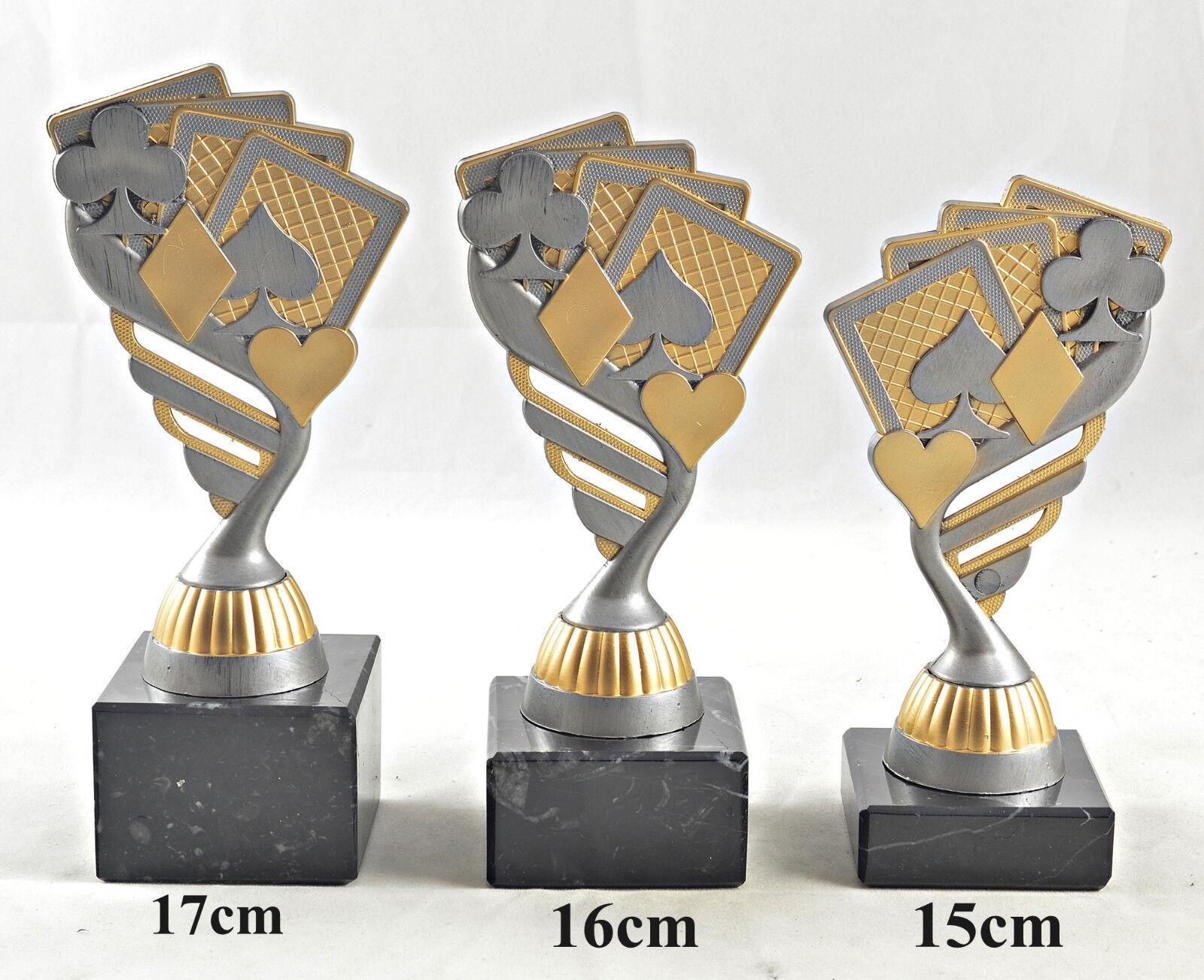 P0183 3 Poker//Skat-Pokale mit 1.2.und 3.Platz oder Wunschgravur
