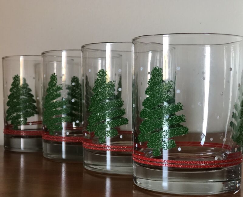 Vintage Set of 4 Libbey Old Fashioned Textured Christmas Tree Glasses Box