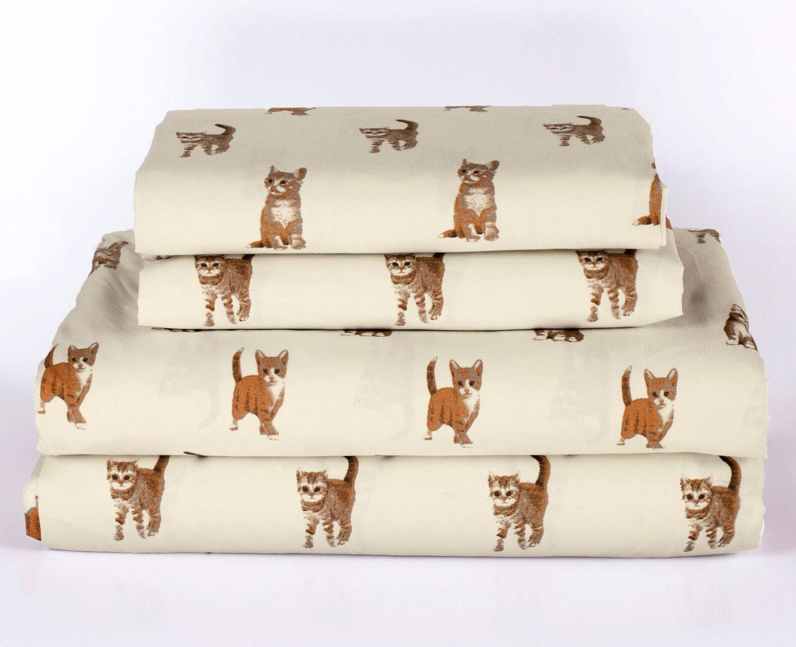 Twin, Full, Queen or King Cat Kitten Sheet Set Microfiber Pet Animal Lover Gift Bedding