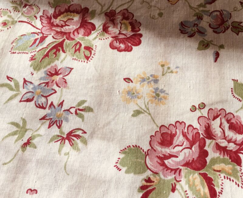 Vintage French Floral Cotton Fabric - Red Pink Yellow Olive Blue Cranberry