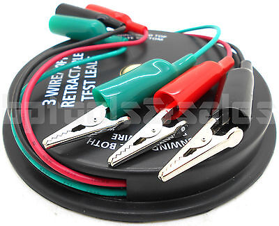 3 Wire 10 Feet Retractable Reel Test Probe Leads 18 Gauge Alligator Clips Tool