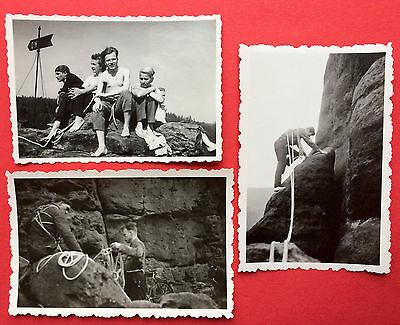 3 x Foto Sächsische Schweiz Kletterei Bergsteiger an Felsen      ( 8488