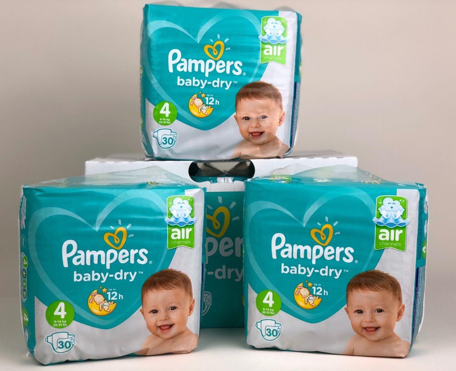 Pampers Baby-Dry Windeln Größe 4 (9-14 kg) 90 Stück bis zu 12h Trockenheit Nr 4