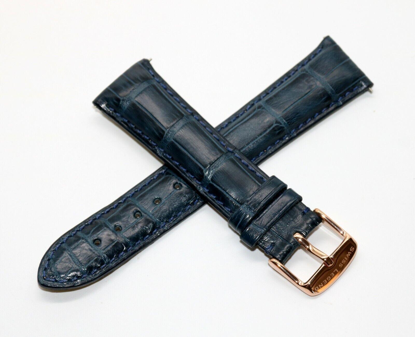 Rotary Uhrenarmband Alligator Dunkelblau  21 mm