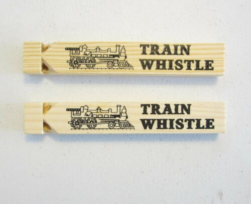 "2 NEW WOODEN TOY TRAIN WHISTLES LOCOMOTIVE RAILROAD CHOO CHOO 6.75"" WOOD WHISTLE"
