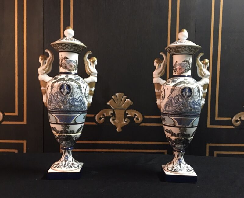 PAIR OF BEAUTIFUL ANTIQUE FRENCH EMPIRE PORCELAIN VASES With GOLD OUTLINES.