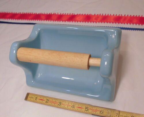 Vintage *Baby Blue-Sky Blue* Glossy Ceramic Toilet Paper Holder  NOS Mastic Type