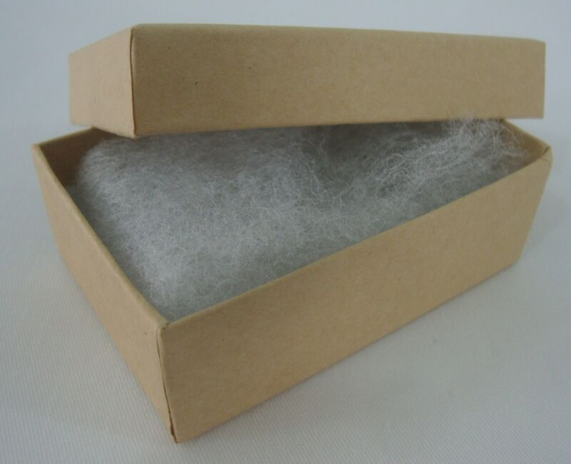 """25 New 3"""" x 2"""" x 1"""" Gift Boxes Kraft Cotton Filled Jewelry Retail Store Supplies"""