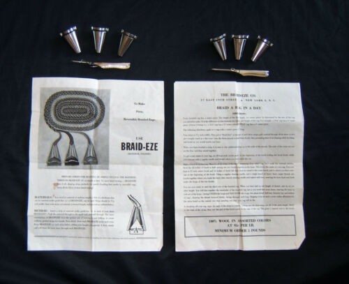 Vtg Braid-Eze Folders & Needles For Rug Braiding ~ Double Set with Instructions