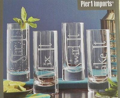 Pier 1 Imports Frosted Glass Set Of 4 Highball Cocktail Tumblers 6.25 Inch NIB