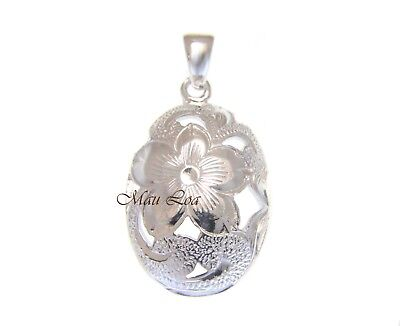 925 Sterling Silver Hawaiian Cut Out Scroll Plumeria Flower Oval Pendant Charm