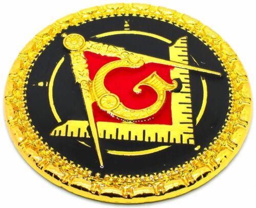 "Masonic 3"" Square & Compass 3D Car Emblem Black // Red // Gold DMCE11"