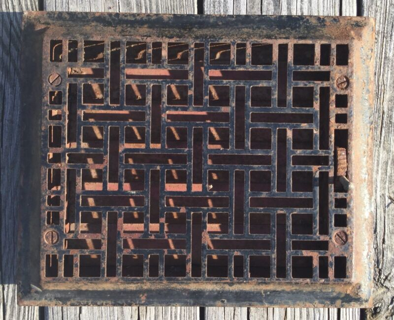 OLD VTG ANTIQUE CAST IRON ART & CRAFT FLOOR GRATE HEATING VENT METAL REGISTER