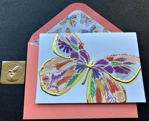 Papyrus Butterfly Note Card ONE Blank Gold Foil Gold Hummingbird Seal Gorgeous
