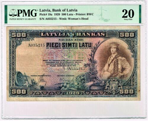 Latvia: Bank of Latvia 500 Latu 1929 Pick 19a PMG Very Fine 20. Very Rare!