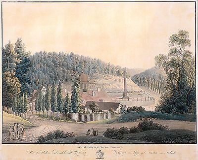 MÄGDESPRUNG (HARZGERODE) - Gesamtansicht mit Obelisk - kolor. Radierung 1819