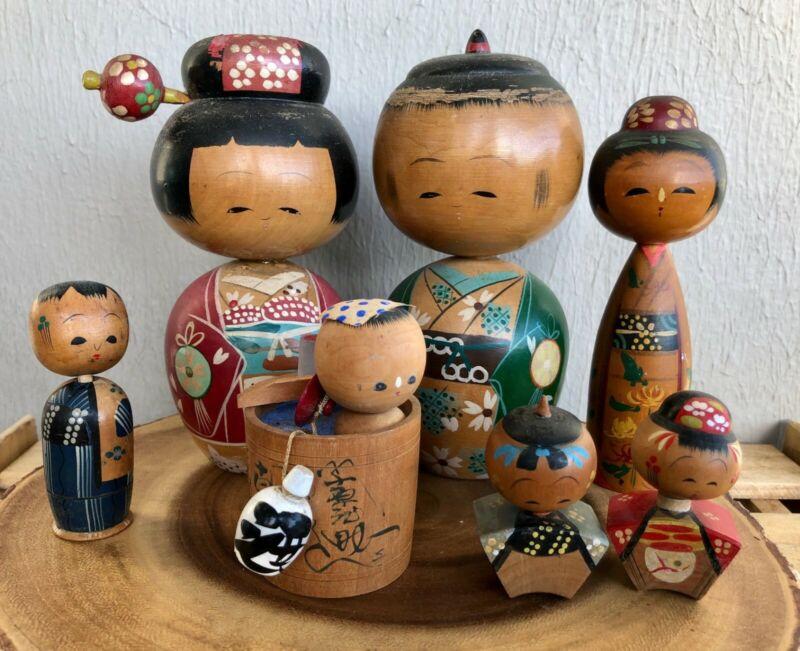 Lot of 7 Sweet Vintage / Antique Kokeshi Dolls - Japan
