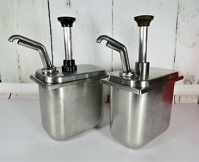2 Lot Stainless Steel Restaurant Supply Server Syrup Fudge Fountain Pumps