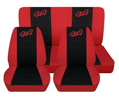 Truck Seat Covers Fits 1979 Jeep CJ7 Red with Black Inserts Front and Rear Set