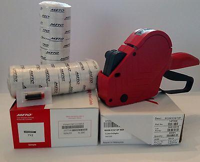 Price Marking Gun Meto 6 Digit 1 Line 16 Rolls Grocery Labels Ink Roller