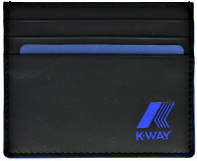 Portafoglio Porta Carte di Credito Uomo Nero/Blu K-Way Wallet MenBlack/Blue