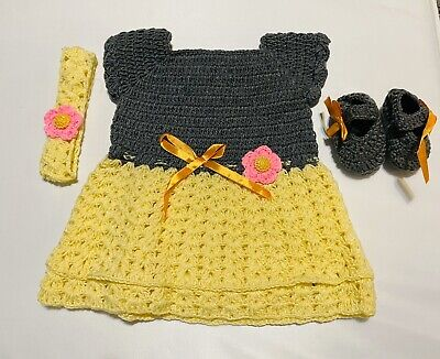 Crochet Baby Girl Outfits-Baby Dress Shows Headband-Newborn Baby Cloth Set