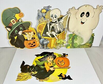 Lot of 4 Vintage Hallmark Die Cut Halloween Decorations 1970s Wall hanging