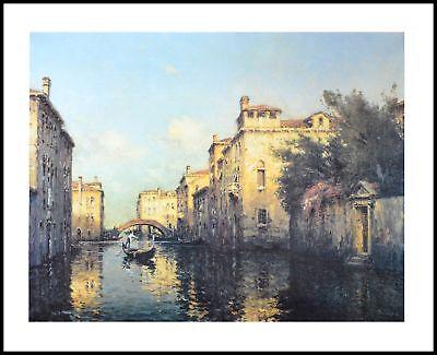 Antoine Bouvard Venetian Canal Scene Poster Kunstdruck im Alu Rahmen 56x71cm