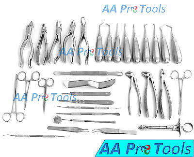 32 Pcs Oral Dental Extraction Surgery Extracting Elevators Forceps Instruments