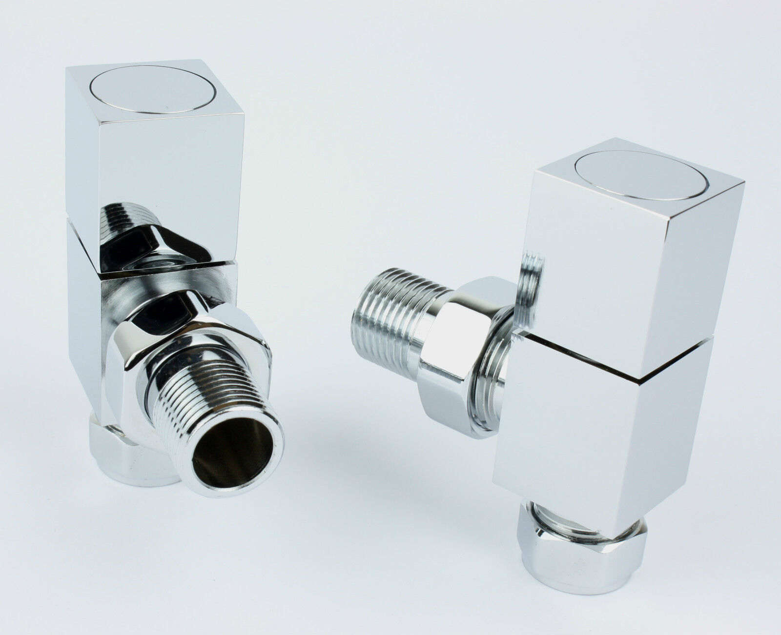 Brushed Chrome Bathroom Radiators: Chrome Valves Straight / Angled Or Corner Design Heated