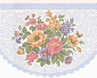 ROUND LASER CUT BABY BLUE FLOWER WALLPAPER BORDER B0655